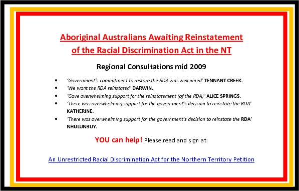 Aboriginal Australians Awaiting Reinstatement of the Racial Discrimination Act in the NT